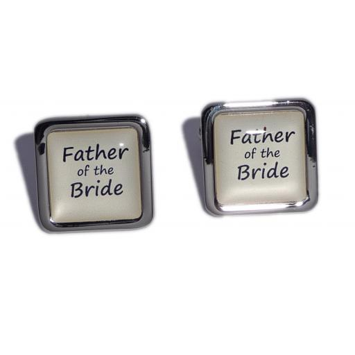 Father of the Bride Ivory Square Wedding Cufflinks