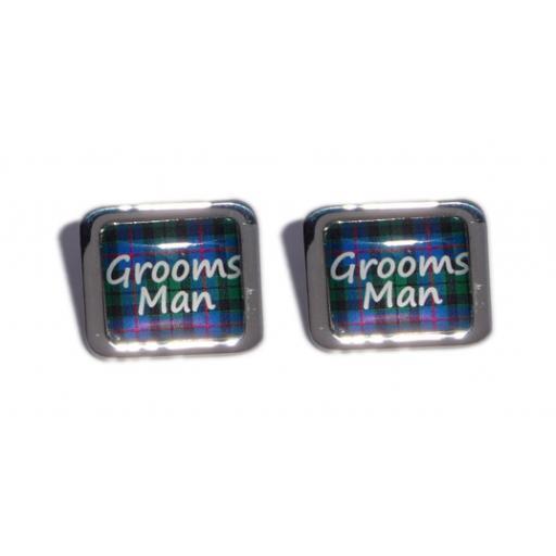 Grooms Man Blue Tartan Square Wedding Cufflinks