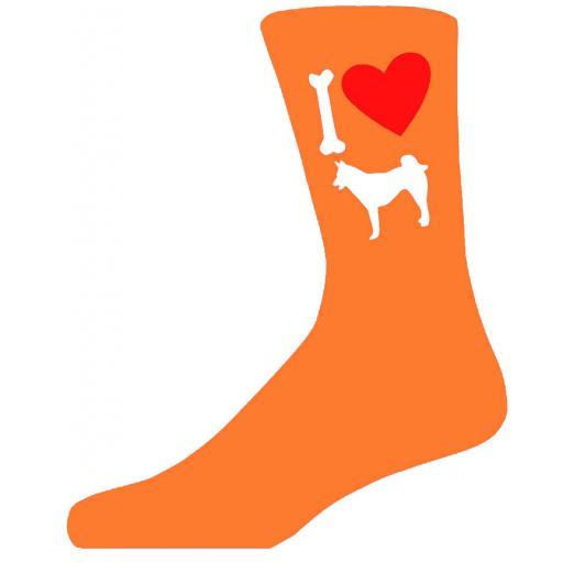 Orange Novelty Husky Socks - I Love My Dog Socks