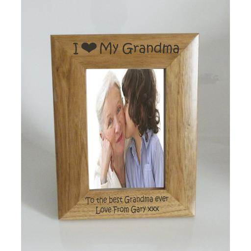 Grandma Photo Frame 4 x 6 - I heart-Love My Grandma 4 x 6 Photo Frame - Free Engraving