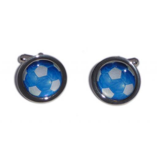 Blue & White Foot Ball cufflinks