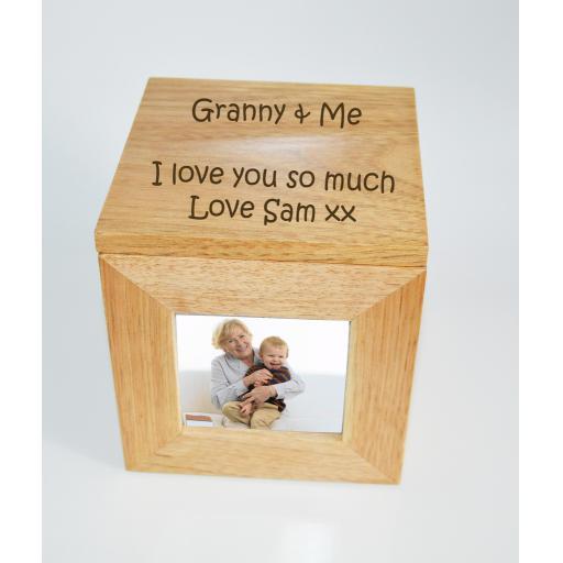 Personalised Oak Wooden Photo Box Keepsake Cube Box Engraved - Granny & Me