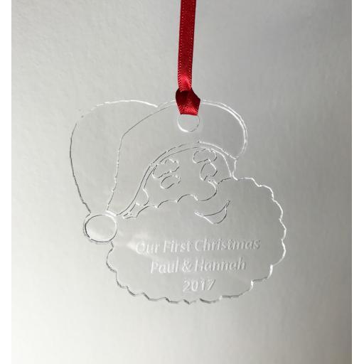Clear Acrylic Hanging Santa - Christmas Tree / Home Decor- Free Personalisation