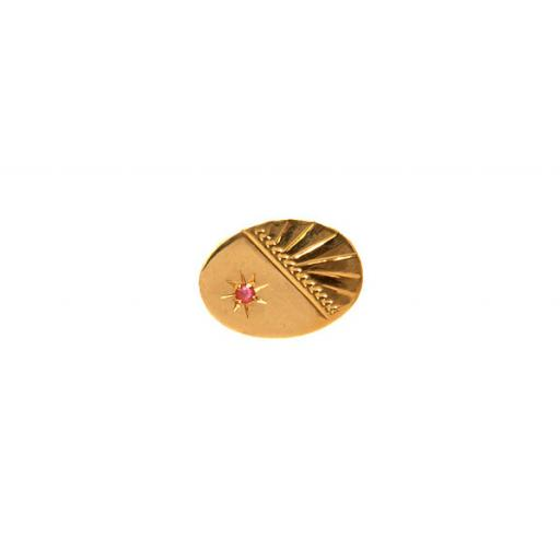 Diamond cut pattern with Ruby Stone - 9ct Gold Tie Tac All our cufflinks come presented in a gift box