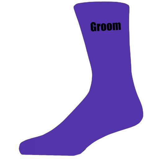 Purple Wedding Socks with Black Groom Title Adult size UK 6-12 Euro 39-49