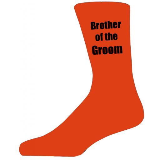 Orange Wedding Socks with Black Brother of The Groom Title Adult size UK 6-12 Euro 39-49