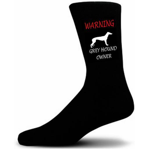 Black Warning Grey Hound Owner Socks - I love my Dog Novelty Socks