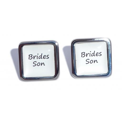 Brides Son White Square Wedding Cufflinks