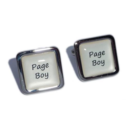 Page Boy Ivory Square Wedding Cufflinks
