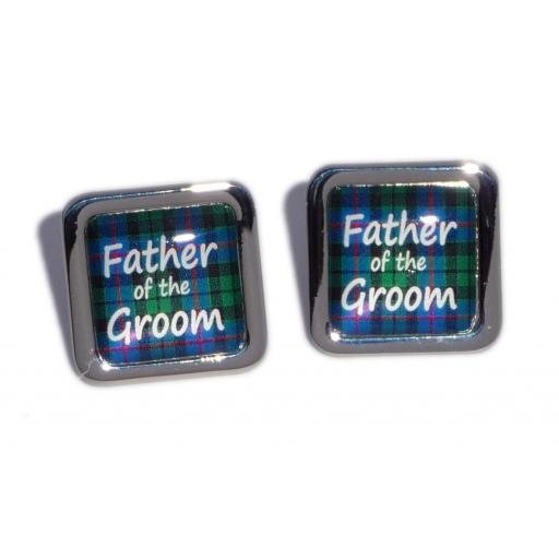 Father of the Groom Blue Tartan Square Wedding Cufflinks