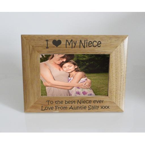 Niece Photo Frame 6 x 4 - I heart-Love My Niece 6 x 4 Photo Frame - Free Engraving