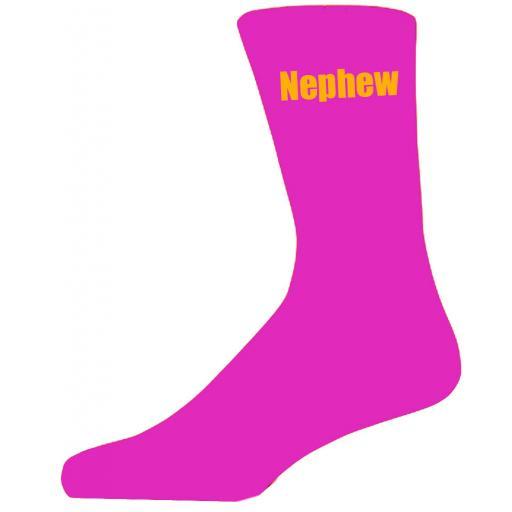 Hot Pink Wedding Socks with Yellow Nephew Title Adult size UK 6-12 Euro 39-49