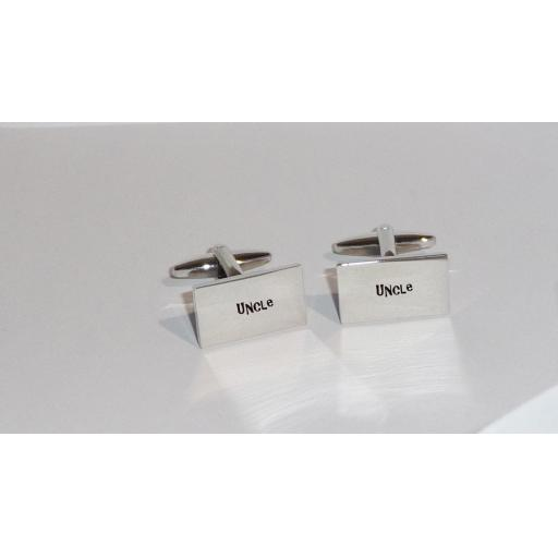 Uncle Rectangle Laser Engraved Cufflinks for the Wedding Party. Goom, Best Man, Father of The Bride. All cufflinks come with an organza gift pouch.