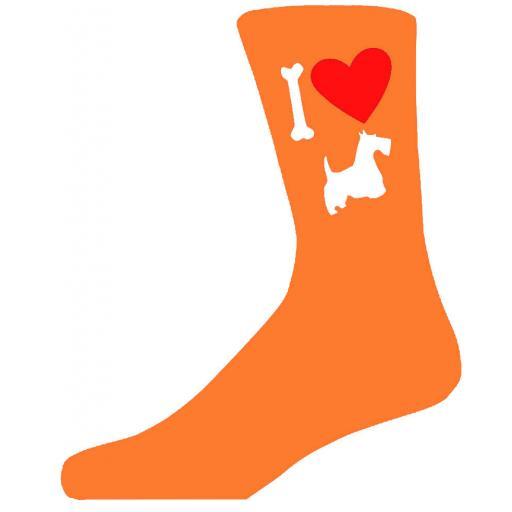 Orange Novelty Scottish Terrier Socks - I Love My Dog Socks