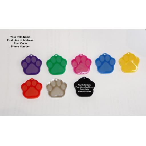 Pet ID Tag Tags, Quality 28mm Black Acrylic Dog Paw Shape with Tab