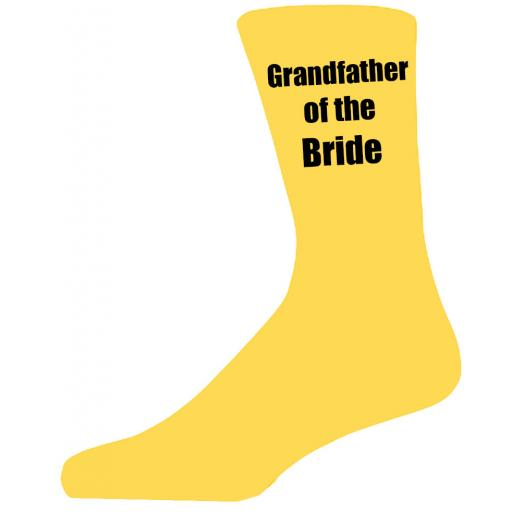 Yellow Wedding Socks with Black Grandfather of The Bride Title Adult size UK 6-12 Euro 39-49