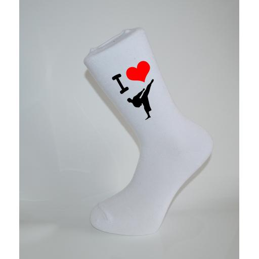 I Love Karate/Judo White Socks, Great Socks for the sportsman, Adults 6-12