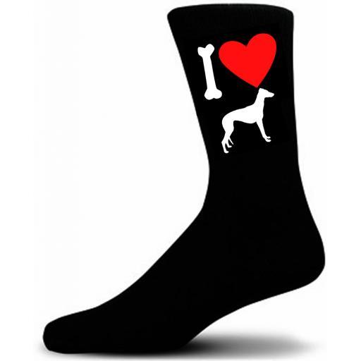 Mens Black Novelty Grey Hound Socks- I Love My Dog Socks Luxury Cotton Novelty Socks Adult size UK 5-12 Euro 39-49