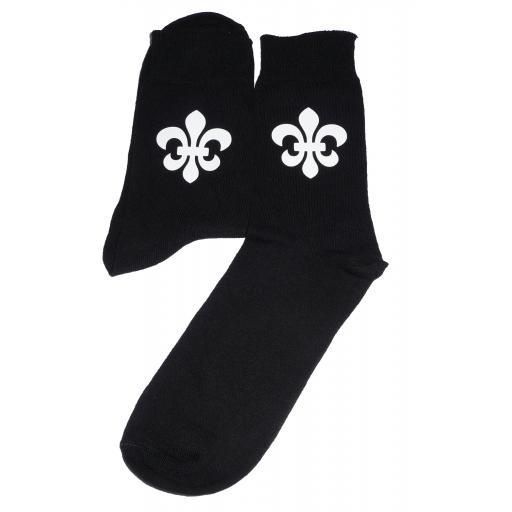 White Fleur De Lis Socks, Great Novelty Gift Socks Luxury Cotton Novelty Socks Adult size UK 6-12 Euro 39-49