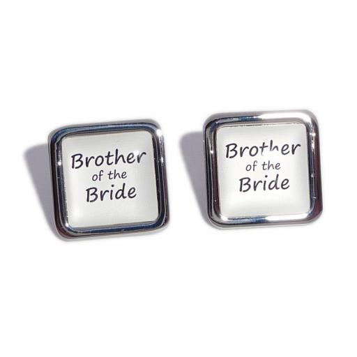 Brother of the Bride White Square Wedding Cufflinks