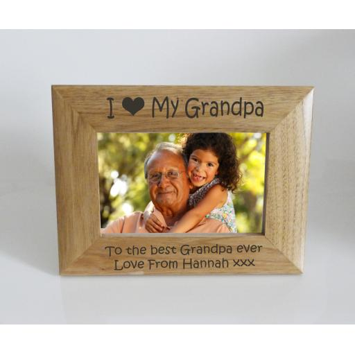 Grandpa Photo Frame 6 x 4 - I heart-Love My Grandpa 6 x 4 Photo Frame - Free Engraving