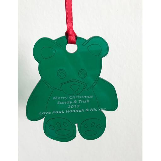 Green Acrylic Hanging Teddy - Christmas Tree / Home Decor- Free Personalisation