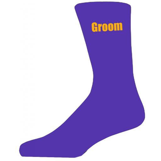 Purple Wedding Socks with Yellow Groom Title Adult size UK 6-12 Euro 39-49