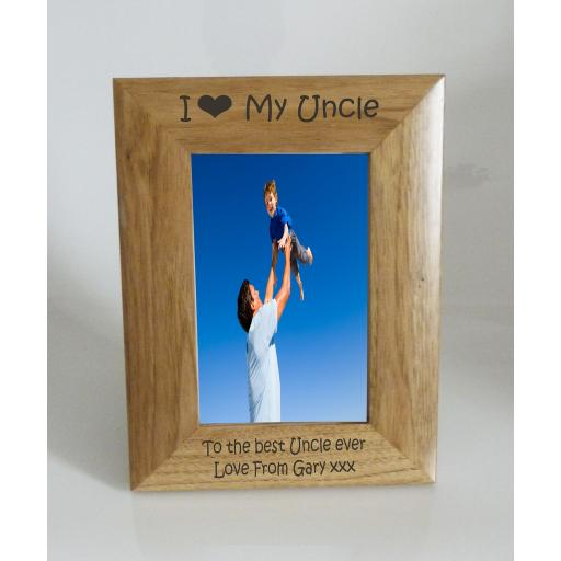 Uncle Photo Frame 4 x 6 - I heart-Love My Uncle 4 x 6 Photo Frame - Free Engraving