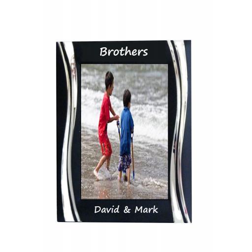 Brothers Black Metal 4 x 6 Frame - Personalise this frame - Free Engraving