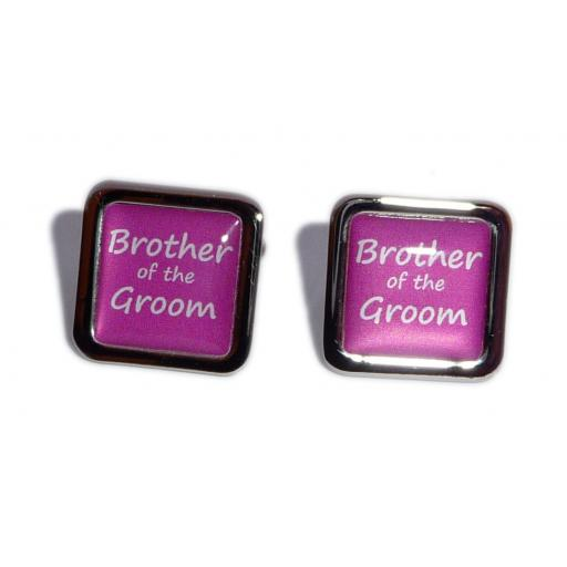 Brother of the Groom Hot Pink Square Wedding Cufflinks