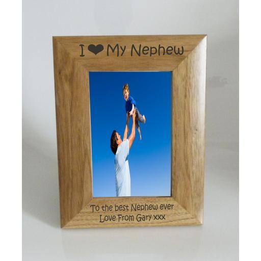 Nephew Photo Frame 4 x 6 - I heart-Love My Nephew 4 x 6 Photo Frame - Free Engraving