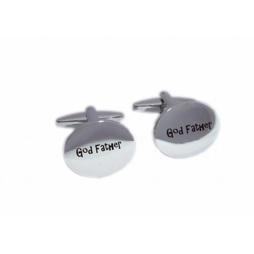 God Father Oval Laser Engraved Cufflinks for the Wedding Party. Goom, Best Man, Father of The Bride. All cufflinks come with an organza gift pouch.