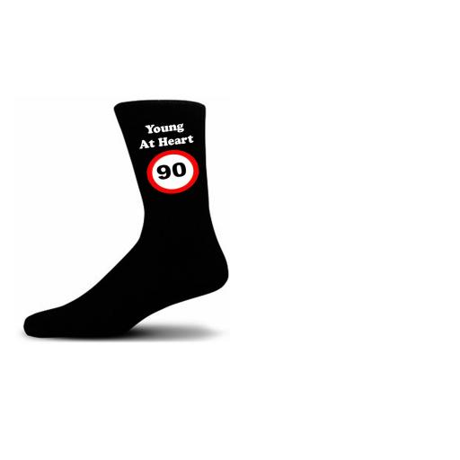 Young At Heart 90 Speed Sign Black Cotton Rich Novelty Birthday Socks