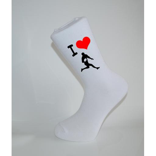 I Love Rugby White Socks, Great Socks for the sportsman, Adults 6-12