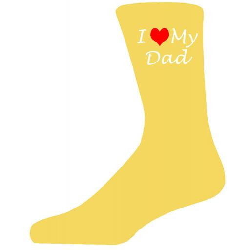 I Love My Dad on Yellow Socks, Lovely Birthday Gift Adult size UK 6-12 Ideal for a Christmas, birthday or anytime gift