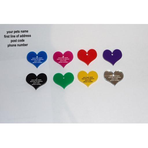 Pet ID Tag Tags, Quality 19mm Black Acrylic Heart Shape with Tab