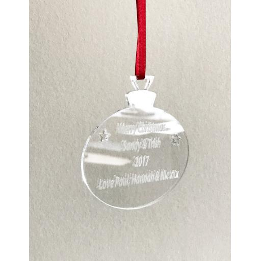 Clear Acrylic Hanging Bauble - Christmas Tree / Home Decor- Free Personalisation