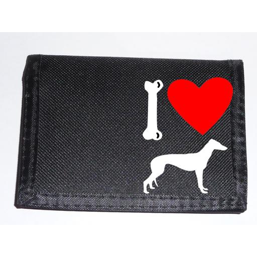 I Love Grey Hound Dogs on a Black Nylon Wallet, Stunning Birthday, Fathers Day or Christmas Gift