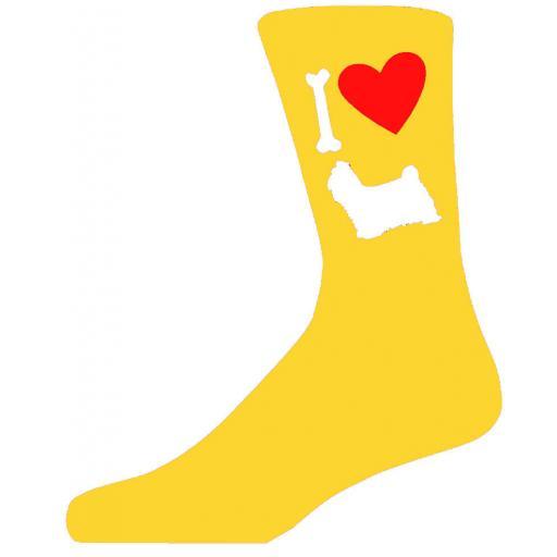 Yellow Novelty Shih Tzu Socks - I Love My Dog Socks