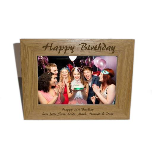 Happy Birthday Wooden Photo frame 6 x 4 - Personalise this frame -Free Engraving - Please email glamgifts50@yahoo co uk