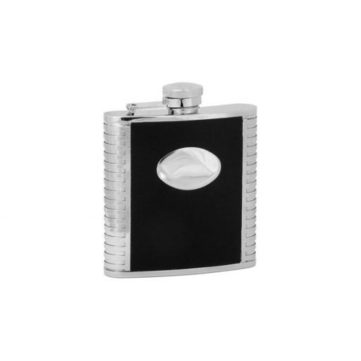 5oz Stainless Steel Hip Flask with Black Imitation Leather and Engraving Plate All our cufflinks come presented in a gift box
