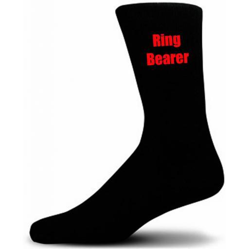 Black Wedding Socks with Red Ring Bearer Title Adult size UK 6-12 Euro 39-49