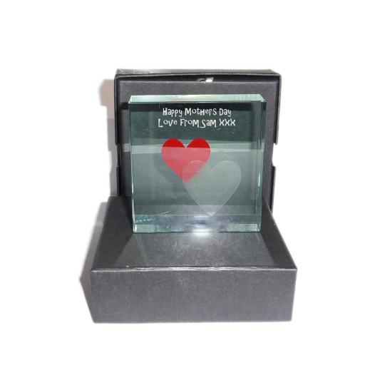 Happy Mothers Day (best Mom) 2 hearts - Personalised Message Glass Crystal Block