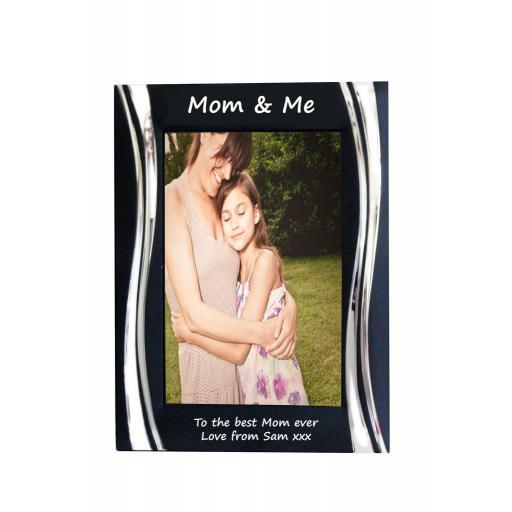 Mom & Me Black Metal 4 x 6 Frame - Personalise this frame - Free Engraving