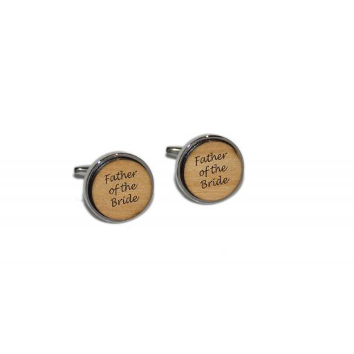 Father of the Bride Round Wooden Insert Laser Engraved Cufflinks for the Wedding Party. Goom, Best Man, Father of The Bride. All cufflinks come with an organza gift pouch.