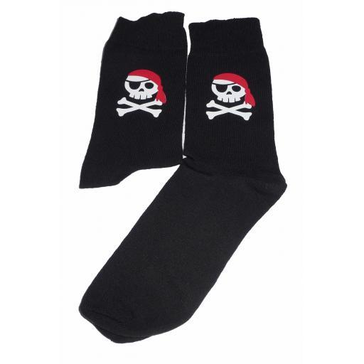 Skull and Cross Bones/Jolly Roger with a Red Bandana Socks, Great Novelty Gift Socks Luxury Cotton Novelty Socks Adult size UK 6-12 Euro 39-49