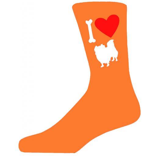 Orange Novelty Pekingese Socks - I Love My Dog Socks