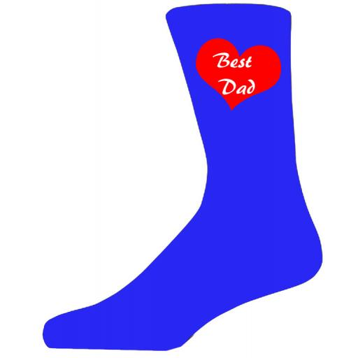 Best Dad in a Red Heart on Blue Socks, Lovely Birthday Gift Adult size UK 6-12 Ideal for a Christmas, birthday or anytime gift