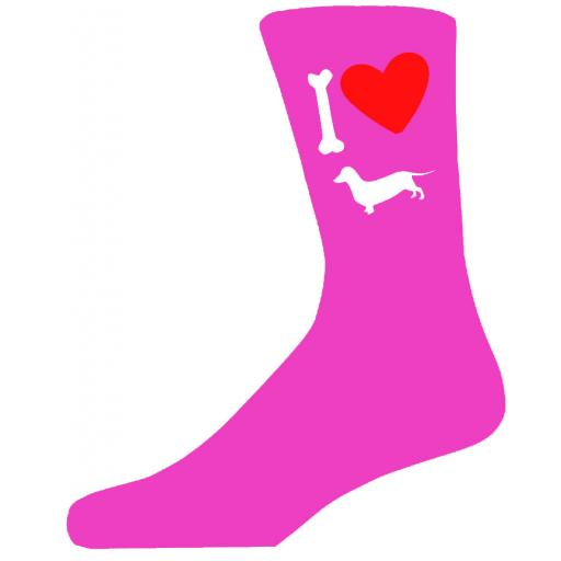 Hot Pink Ladies Novelty Dachshund Socks- I Love My Dog Socks Luxury Cotton Novelty Socks Adult size UK 5-12 Euro 39-49