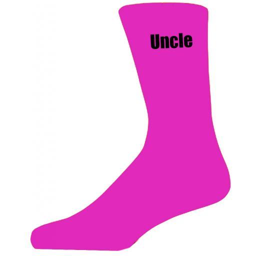 Hot Pink Wedding Socks with Black Uncle Title Adult size UK 6-12 Euro 39-49